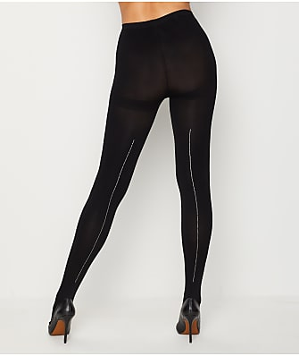 HUE Rhinestone Back Seam Tights