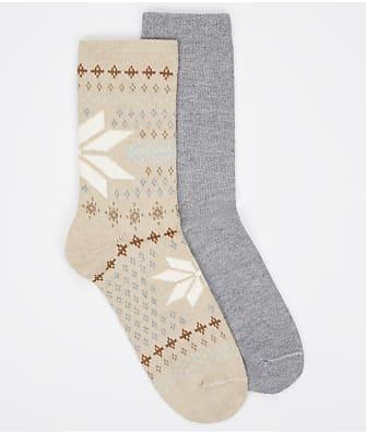 HUE Fairisle Snowflake Bootsocks 2-Pack