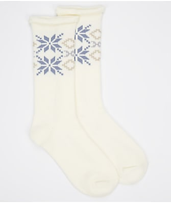 HUE Snowflake Supersoft Roll Top Crew Socks