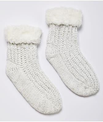 HUE Cable Knit Sherpa Slipper Socks