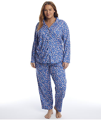 Karen Neuburger Plus Size Denim Ditsy Knit Pajama Set