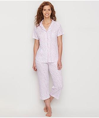 Karen Neuburger Garden Rosa Girlfriend Knit Cropped Pajama Set