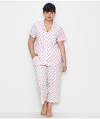 Karen Neuburger Plus Size Ditsy Girlfriend Knit Cropped Pajama Set