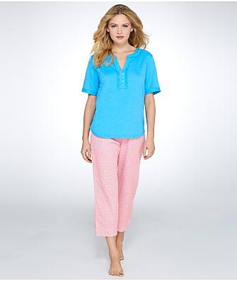 Karen Neuburger Butterfly Garden Knit Henley Pajama Set