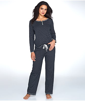 Karen Neuburger Plus Size Leaf Print Knit Pajama Set