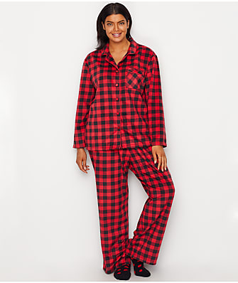 Karen Neuburger Plus Size Minky Fleece Plaid Pajama & Sock Set
