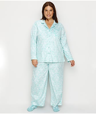 Karen Neuburger Plus Size Brocade Fleece Pajama & Sock Set