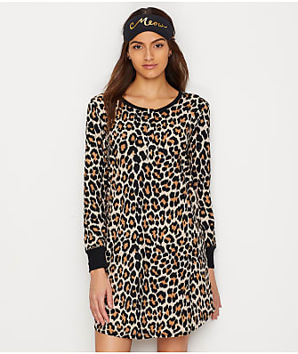 kate spade new york Leopard Knit Sleepshirt & Eye Mask Set