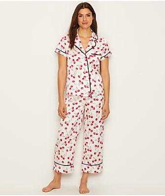 kate spade new york Charmeuse Cherry Cropped Pajama Set