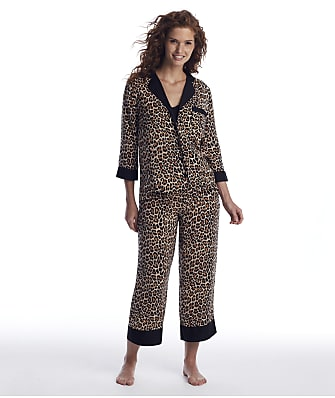 kate spade new york Leopard Cropped Woven Pajama Set