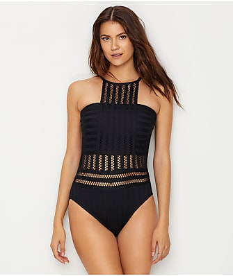 Kenneth Cole Tough Luxe High Neck One-Piece