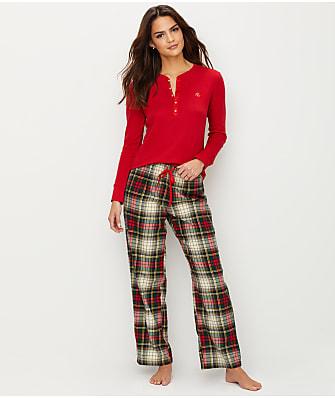 Lauren Ralph Lauren Classic Flannel Henley Pajama Set