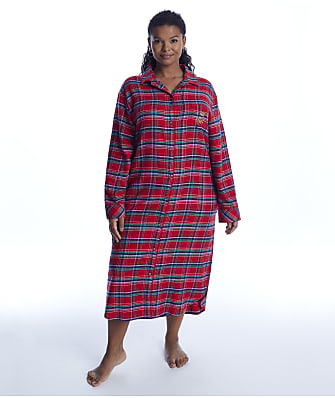 Lauren Ralph Lauren Plus Size Red Plaid Brushed Twill Maxi Sleep Shirt