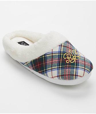 Lauren Ralph Lauren Ivory Plaid Comfy Slipper