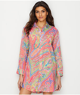 Lauren Ralph Lauren Roll Tab Woven Sleep Shirt