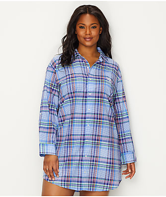 Lauren Ralph Lauren Plus Size His Shirt Plaid Woven Sleep Shirt