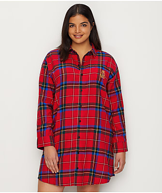Lauren Ralph Lauren Plus Size Classic Flannel Sleep Shirt