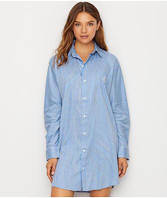 Lauren Ralph Lauren Classic Stripe Sateen Sleep Shirt