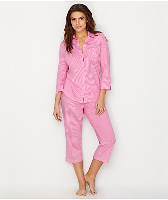 Lauren Ralph Lauren Striped Knit Capri Pajama Set
