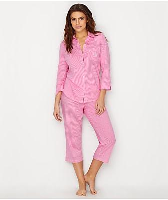 Lauren Ralph Lauren Striped Knit Capri Pajama Set