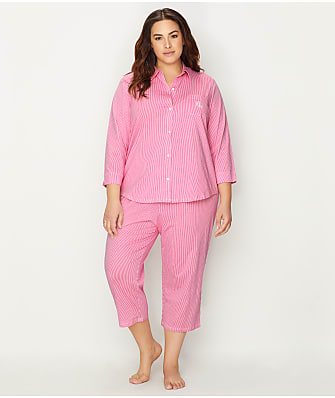Lauren Ralph Lauren Plus Size Striped Knit Capri Pajama Set