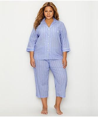 Lauren Ralph Lauren Plus Size Classic Stripe Woven Pajama Set