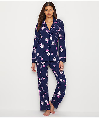Lauren Ralph Lauren Notch Collar Floral Knit Pajama Set