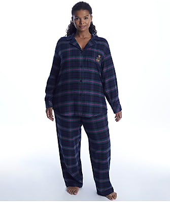 Lauren Ralph Lauren Plus Size Green Plaid Brushed Twill Pajama Set