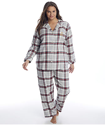 Lauren Ralph Lauren Plus Size Grey Plaid Brushed Twill Pajama Set