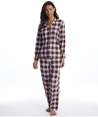 Lauren Ralph Lauren Ivory Plaid Knit Pajama Set