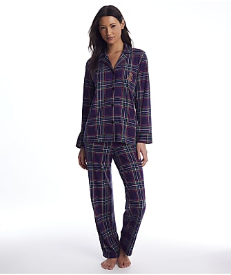 Lauren Ralph Lauren Purple Plaid Knit Pajama Set