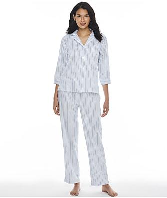 Lauren Ralph Lauren Blue Stripe Woven Pajama Set