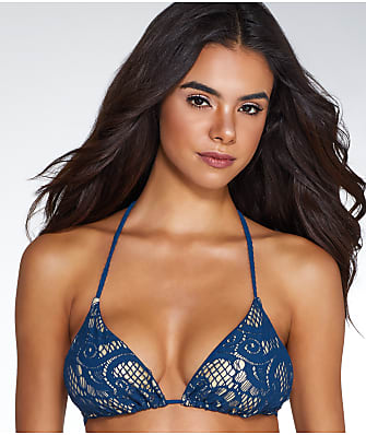 Luli Fama Wanted And Wild Triangle Wire-Free Halter Bikini Top