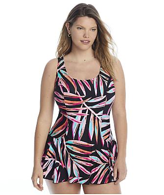 Maxine of Hollywood Plus Size Painted Palm Princess Swimdress