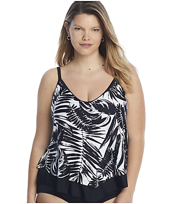 Maxine of Hollywood Plus Size Shadow Leaves Flutter Tankini Top