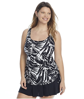 Maxine of Hollywood Plus Size Shadow Leaves Tank Swimdress