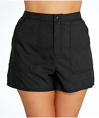 Maxine of Hollywood Plus Size Solid Woven Boardshort