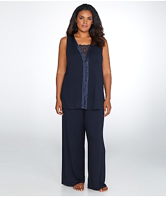 Midnight by Carole Hochman Satin And Lace Modal Pajama Set Plus Size