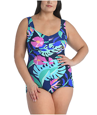 Maxine of Hollywood Plus Size Jungle Oasis Girl Leg One-Piece