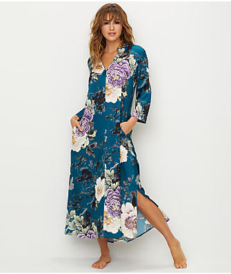 N Natori Floral Dynasty Satin Zip-Up Caftan