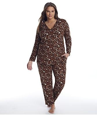 N Natori Plus Size Wild Instincts Knit Pajama Set