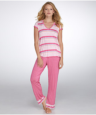 Oscar de la Renta Luze Printed Knit Jersey Pajama Set