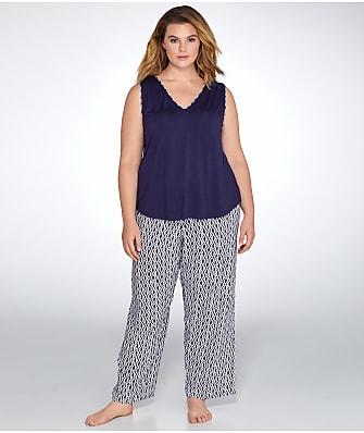 Oscar de la Renta Plus Size Printed Knit Challis Pajama Set