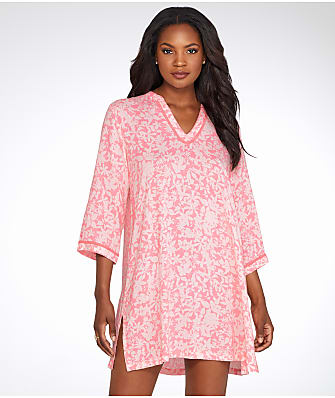 Oscar de la Renta Printed Woven Challis Night Shirt