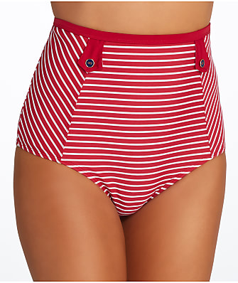 Panache Britt Stripe High-Waist Bikini Bottom