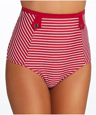 Panache Britt Stripe High-Waist Bikini Bottom