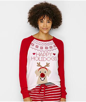 P.J. Salvage Holidogs X-Mas Peachy Jersey Knit Pajama Top