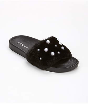 P.J. Salvage Faux Fur & Pearl Sliders