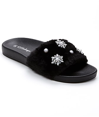 P.J. Salvage Faux Fur & Pearl Slide Slippers