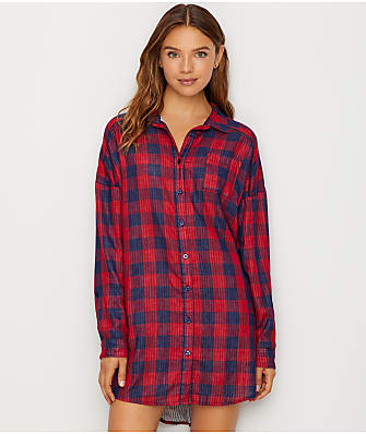 P.J. Salvage Winter Escape Woven Plaid Sleep Shirt